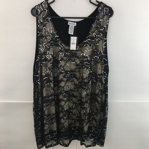 NWT Wet Seal Nude & Black Sequin Tank Cami Sz 3x